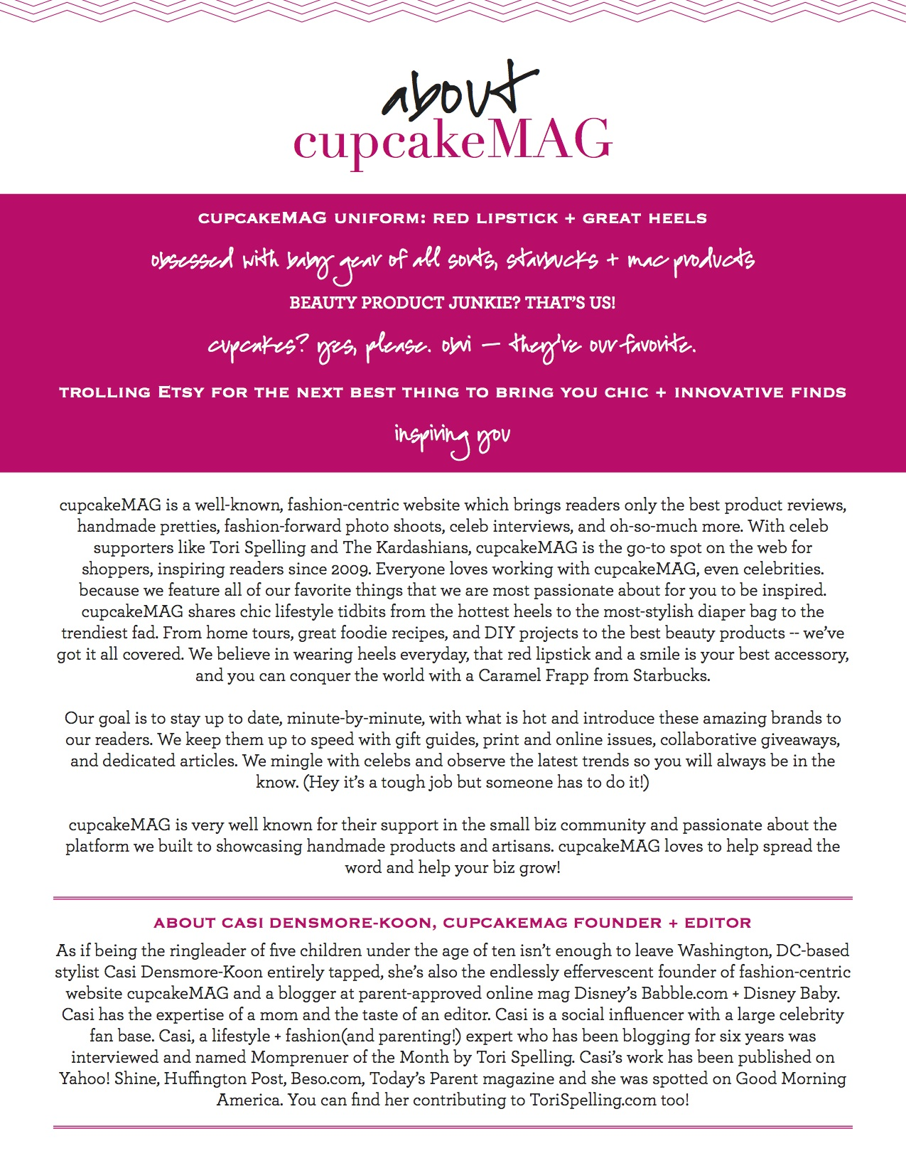 cupcakeMAG media kit about