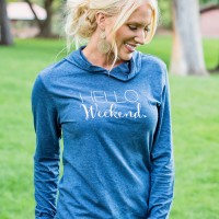 HELLO WEEKEND NAVY BLUE HEATHERED HOODED PULLOVER TOP LONG SLEEVE - 9