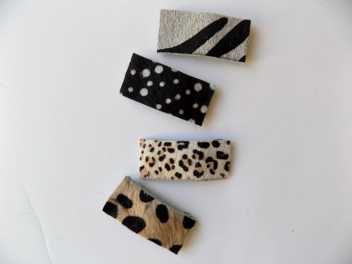 Genuine Calf Hair Leather Snap Clips- animal prints